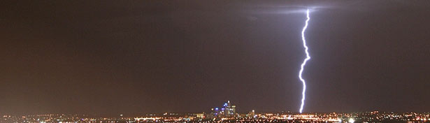 Lightning strike in Perth