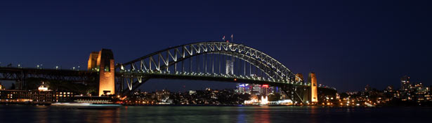 Sydney harbour bridge at night time