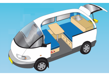 The Tarago Camper is suitable for two people. Some are manual and some are automatic